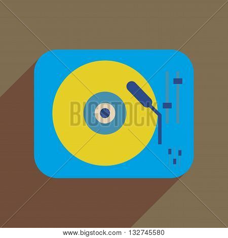 Flat web icon with long  shadow retro turntable