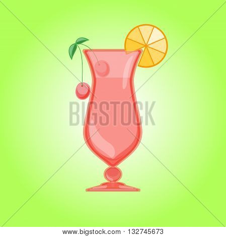 Hurricane cocktail, pina colada glass with cherry and orange. Candy Relax summer background. Vector illustration.
