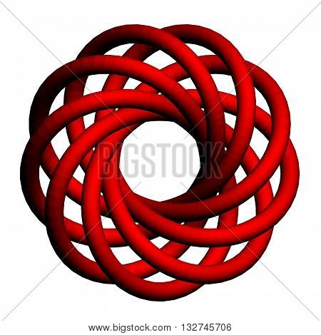 Vector illustration of abstract red torus with a plurality of nodes. Isolated. 3D.
