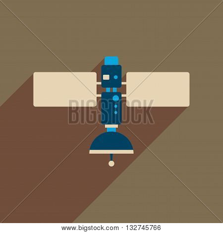 Flat web icon with long  shadow satellite