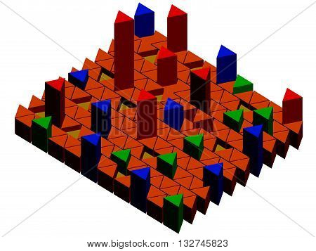 Vector illustration infographic with prisms. Rise and Fall, stability. Isometric. Isolated. EPS 8.