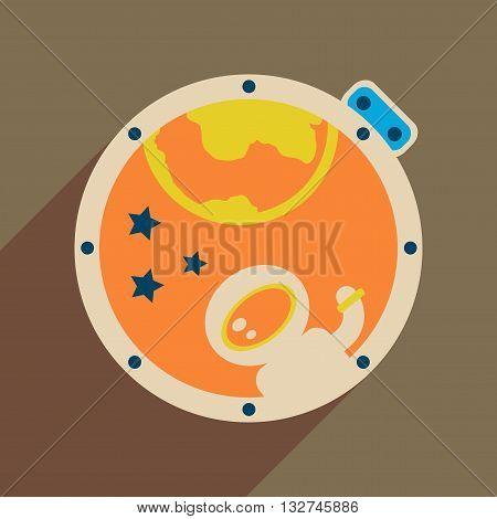 Flat web icon with long  shadow cosmonaut