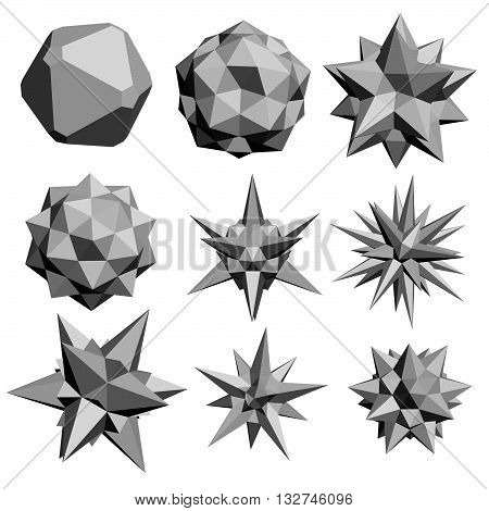 Vector illustration set with fractal geometric figures. 3D. Isolated.
