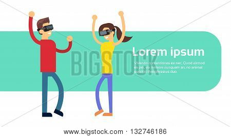 Man Woman Coupe Wear Virtual Reality Digital Glasses Headset Dancing Banner Copy Space Flat Vector Illustration