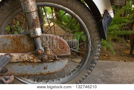 The motorcycle rust; The old motorcycle and eroding
