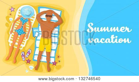 People Lying Beach Sand Sunbathing Summer Vacation Flat Vector Illustration