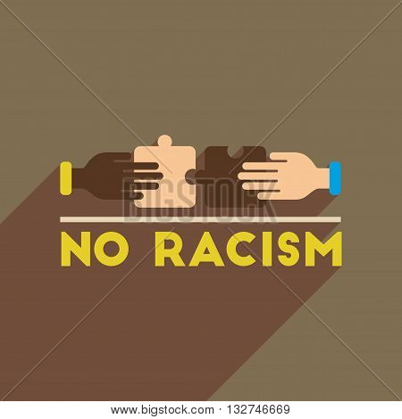 Flat web icon with long  shadow racism fight