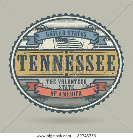 Vintage stamp or label with the text United States of America, Tennessee, vector illustration