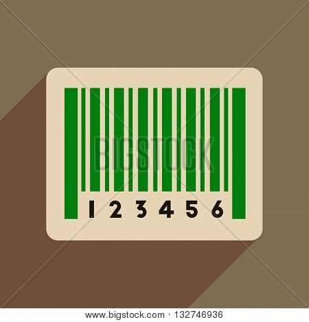 Flat web icon with long  shadow bar code