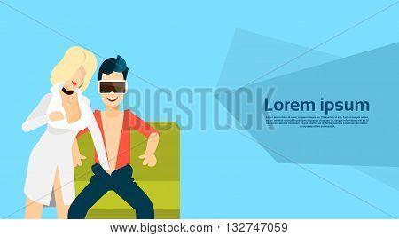 Man Wear Virtual Reality Digital Glasses Headset Watch Erotic Adult Video Flat Vector Illustration