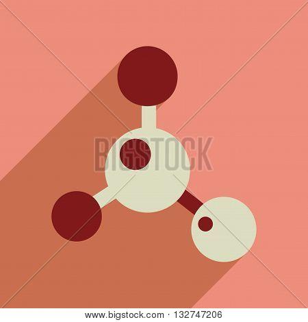 Flat web icon with long  shadow molecule