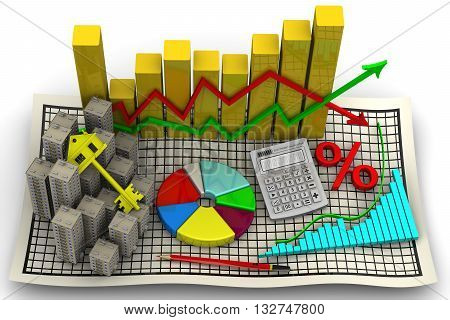 Price changes on the real estate market. Business still-life. Isolated. 3D Illustration