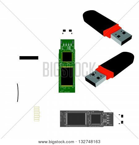 Stock flash drives. Internal structure of the stick. Micro SD flash drive.