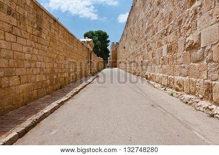 Old Street on the Mount Zion in Jerusalem