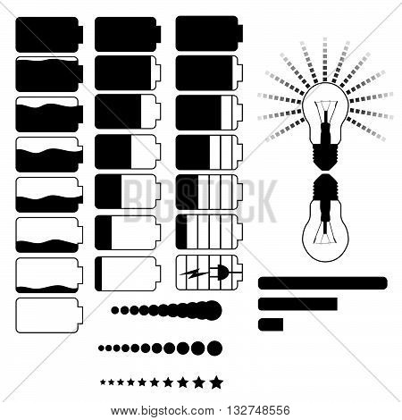 Vector set of indicators. Battery indicator, load, light.