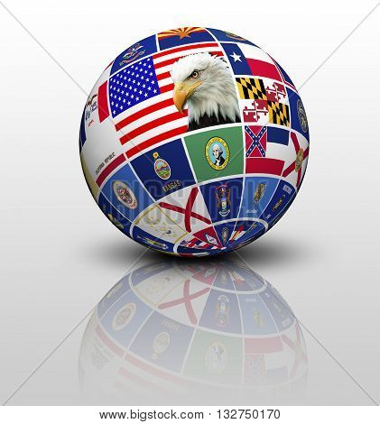 Flags States of America in the form of globe isolated on white background