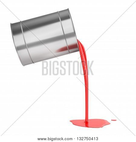 Red liquid paints spouting from can isolated