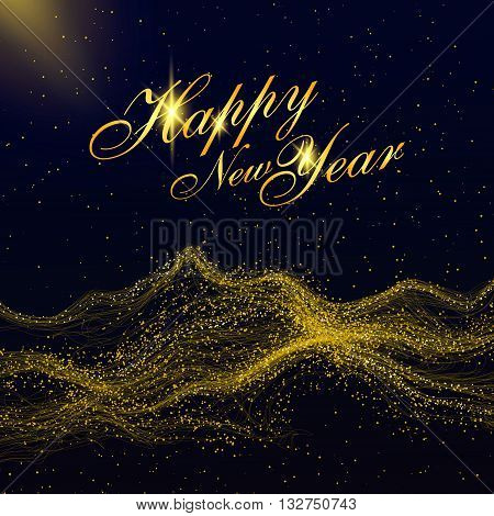 Particles of gold mountains,can be used as the background of the New Year.