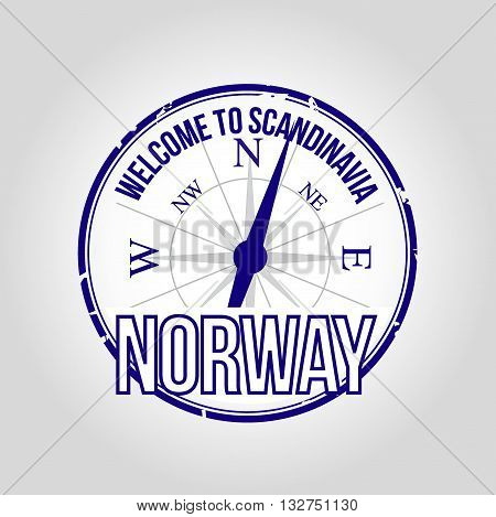 Stamp Welcome to Norway, noutry of Scandinavia