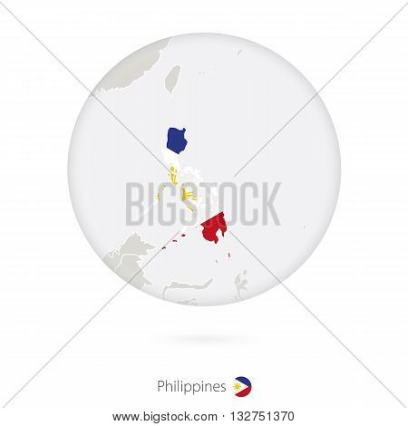 Map Of Philippines And National Flag In A Circle.