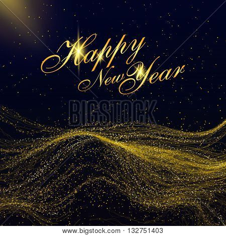 Particles of gold mountains can be used as the background of the New Year.
