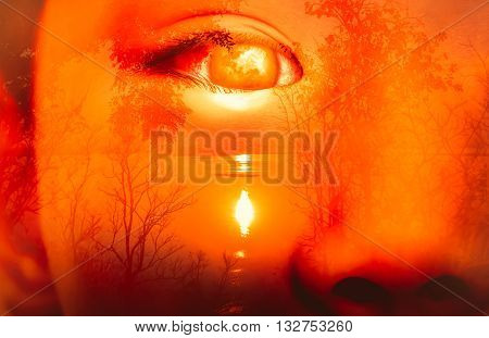 Halloween Horror Background. Double Exposure Of Eye Combined With Spooky Forest With Moon And River.
