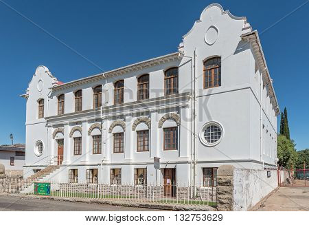 CRADOCK SOUTH AFRICA - FEBRUARY 19 2016: The hall of the Dutch Reformed Mother Church in Cradock was inaugurated in 1912. Cradock is a medium sized town in the Eastern Cape Province