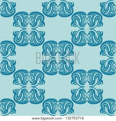 Vector illustration of seamless texture with decorative ornaments.