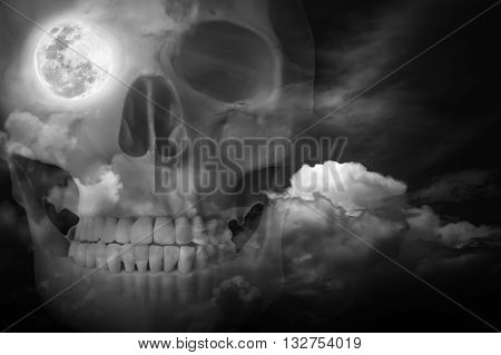 Halloween Horror Background. Double Exposure Of Human Skull Combined Sky With Clouds.
