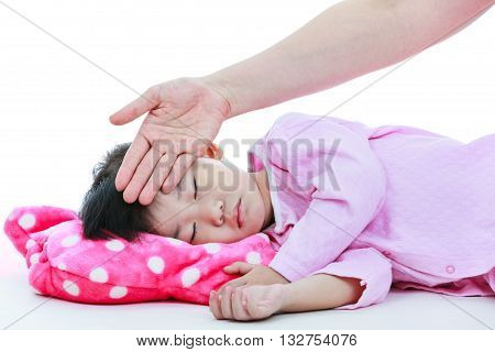 Mother Checking Temperature Of Sick Daughter By Hand. On White Background.