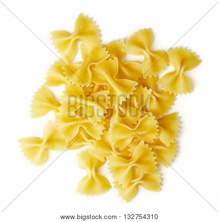 Bow Tie Pasta Isolated On White, From Above