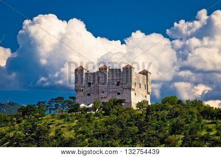 Nehaj fortres in Senj on green hill Primorje region of Croatia
