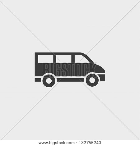 Minivan icon in a flat design in black color. Vector illustration eps10
