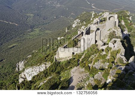 Duilhac, France, May 27, 2016 : Peyrepertuse Is A Ruined Fortress And One Of The Cathar Castles. Cat