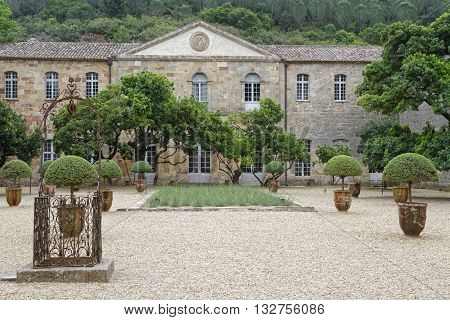 Fontfroide, France, May 28, 2016 : Fontfroide Abbey Or Abbaye Sainte-marie De Fontfroide Is A Former