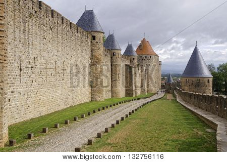 Carcassonne, France, May 29, 2016 : Founded During The Gallo-roman Period, The Citadel Derives Its R