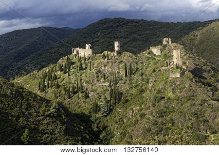 Lastours, France, May 29, 2016 : Four Castles Are Built On A Rocky Spur Above The Village Of Lastour