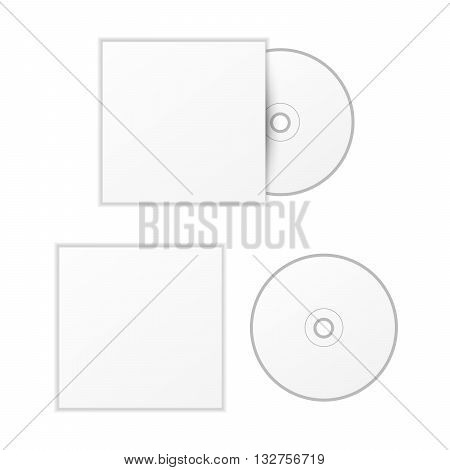 Blank white compact disk with cover mock up template isolated on white