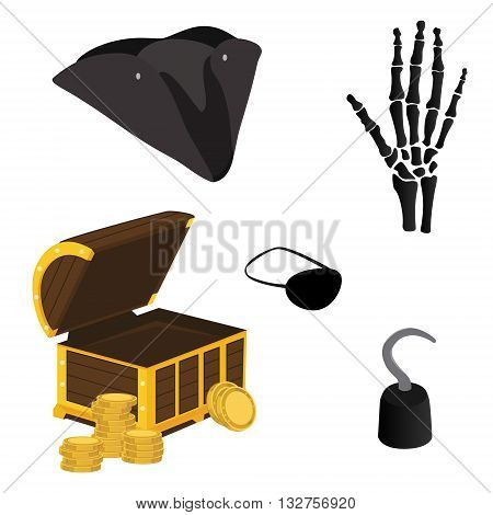Vector illustration pirate icon set with pirate hook pirate hat pirate eye patch hand bone and treasure chest
