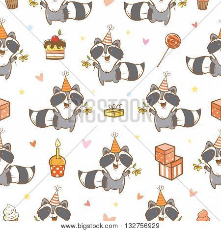 Seamless pattern with cute cartoon raccoons  on  white  background. Funny forest animals. Birthday gifts, sweets and party hats. Children's illustration. Vector image.