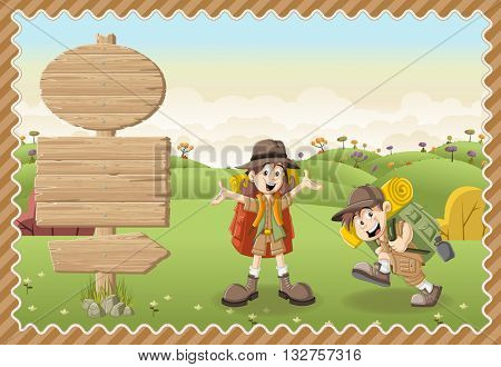 Card with a wooden signs. Cute cartoon kids in explorer outfit on a green park.