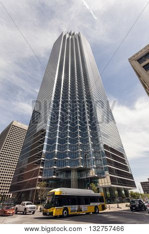 DALLAS USA - APR 7: The Bank of America Plaza skyscraper building in the Dalls downtown district. April 7 2016 in Dallas Texas United States