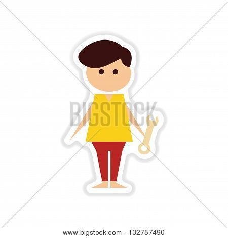 paper sticker on white  background male plumber