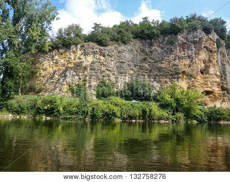 Cliffs line France's Dordogne River in the Perigord