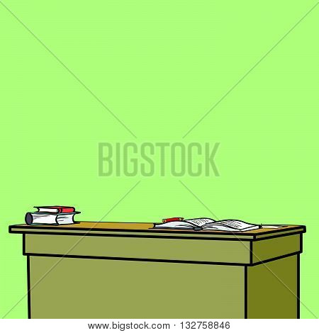 School Desk with textbooks line art comic caricature