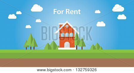 for rent renting house with text on top of the house vector illustration