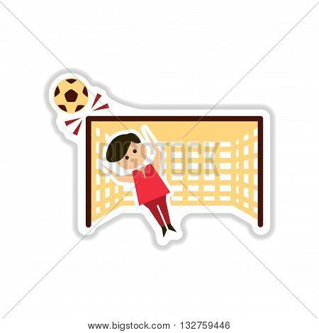 paper sticker on white  background soccer goalie