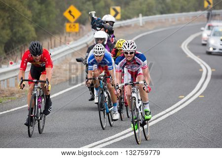 MELBOURNE, AUSTRALIA - FEBRUARY 1: The breakaway group near the town of Ceres in the inaugral Cadel Evans Great Ocean Road Race