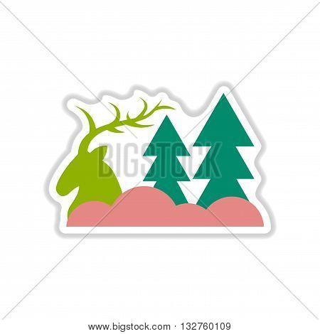 paper sticker on white  background deer forest