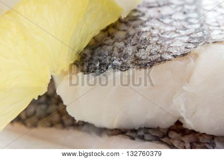 Hake Fillet With Skin, Lemon, Macro